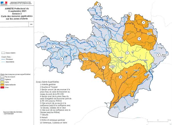 ARRETE Préfectoral du 9 septembre 2021 - Annexe 2 - Carte des mesures applicables sur les zones d'alerte.